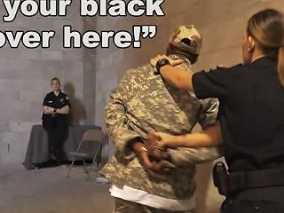 Black Patrol Fake Soldier Gets Used As A Black Fuck Toy By White Cops