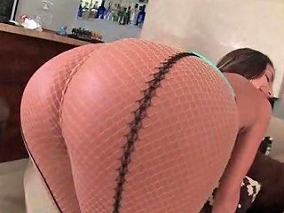 Big Tits Blonde In Fishnets Plays With Hot Ass