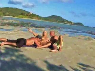 Erotic Threesome With Hot Girl On Beach