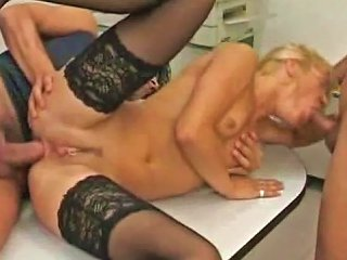 Girl On The Office Table Takes Two Men